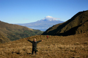 Chimborazo in the background of the el Altar trek